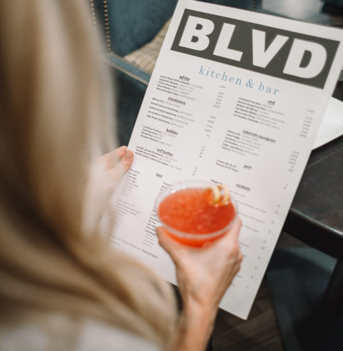Woman looking at menu